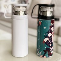 Sublimation White Straight Mug With Cup Lid 17oz 500ml 12oz 350ml Slim Bottle Travel Tumbler Skinny 18 8 Stainless Steel Insulated Vacuum 2-Wall Glass BPA-free
