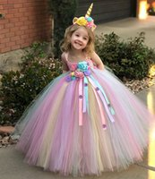 Girls Flower Tutu Dress Kids Crochet Tulle Strap Dress Ball Gown with Daisy Ribbons Children Party Costume