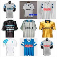 1998 1999 2000 Olympique de Marseille Retro Jersey 98 99 Pires Maurice Blanc Ravanelli de la Pena Galas Camisa de futebol vintage clássico