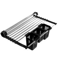 Hangers & Racks Foldable Multifunction Dish Drying Rack Kitchen Organizer Storage Drainer Stainless Retractable Over Sink