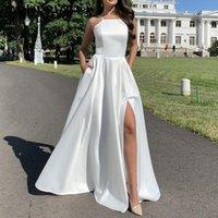 Casual Dresses Women Summer Dress Sexy Backless Asymmetrical Maix Beach Sleeveless Long White Split Fork Ball Gown
