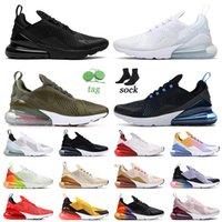 270 Zapatos Triple Negro TODO Blanco Hombres de calidad superior Mujeres Correr Deportes Medio oliva Universidad Oro Barely Rose 27C Zapatillas de deporte 36-45