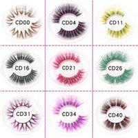 Colorful 3D Mink Eyelashes Makeup Thick Eye Lashes Cross Natural Long False Eyelashes Stage Show Fake Eyelash with packaging boxes