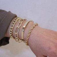 Link, Chain 4Pcs Set Fashion Gold Silver Color Thick Punk Bracelets Set For Women Girl Trendy Party Female Metal Bracelet Jewelry Gift