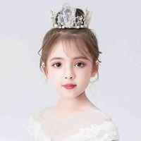 Estilo vendendo nebuloso bonito artesanal king king coroas para meninas festa de casamento branco grânulos dourado acessórios de cabelo tiaras