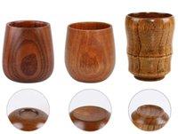 Copas de vino de alta calidad retro 5oz huevo tazas de madera maciza natural taza de madera tazas de cerveza 150 ml de café de leche Qdga