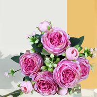 Flores decorativas grinaldas europeu vintage artificial seda chá rosa 5 cabeça 4 pequeno buquê bouquet casamento casa retro festa falsa festa diy d
