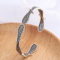 Bangle Fashion Men's Silver Bracelet Trend Punk Retro Unique Design Wing Party Jewelry Birthday Gift Couple Accessories