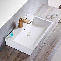 Square Washbowl Ceramic Table Washbasin bathroom sink Art rectangular white porcelain Wash Basin with faucet