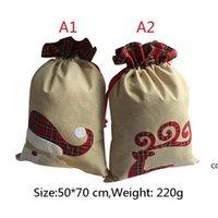 Рождественские украшения 50 * 70 см Рождественские подарочные пакеты льняные сумки на стрижках рождественские бельневые мешок партии поставки DHE8709