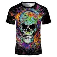 Men's T-Shirts Colorful Skull Graphic Print Men T-shirt Fashion Design Emo Hip Hop Grunge Oversized Vintage Short Sleeve Clothing