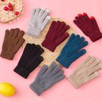 Gants d'hiver pour femmes Gants à écran tactile Mitaines chaudes mitaines chaudes coton massif chaud épais tricoté cinq doigts gants gants cadeaux de Noël