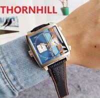 Square Dial Designer Mens Watch 40mm Leather Strap Quartz Chronograph Blue Gulf Racing Special Edition Sapphire WristWatches Super luminous montre de luxe