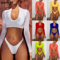 Gnim Mesh Long Sleeve Bikini Badeanzug Frau Solide Push Up Bikinis Swimwear Frauen Biquini Beachwear Badeanzug