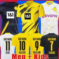 Dortmund Futebol Jersey Haaland Reus Borussia 20 21 20 2021 Camisas de futebol Bellingham Sancho Hummels Brandt Men + Kid Kit Maillot de pé