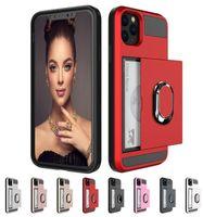 Dia-Karten-Telefonkasten für iPhone 12 Mini 11 x XR xs Max Pro-Cover-Kartenhalter-Ringkoffer für iPhone 7 8 6 6S plus Fall