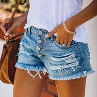 Jeans da donna Plus Size Light Blue Blue Rovinata Cut Out Denim Pantaloncini con nappa Donne Streetwear Streetwear Sull'alto Vita Hollow Sexy Hole Jean Femmina