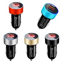 20PCS Dual USB QC3.0 Fast Charging Digital Display LED Car Chargers 5V 2.4A 2USB Ports Aluminum Universal 18W Power Adapter Charger