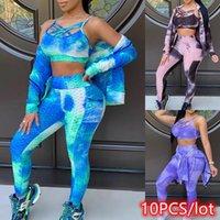 Kadın İki Parçalı Pantolon 10 ADET Kadınlar 3 Set Tie-Boya Chic Suits Kırpma Üst + Bodycon Tayt + Zip Yukarı Ceket Eşofman Spor Fitness Toptan Bul