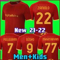 كرة القدم جيرسي Zaniolo Roma Dzeko Pastore روما Totti Kluivert Kolarov 21 22 كرة القدم قميص 2021 2022 الرجال + موحدة Kids Kit Mailleot