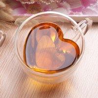 Tasse d'eau de verre transparente Tasse à double création Creative Coeur en forme de lait Coupe de café Cuisine de ménage Fournitures à boire GWA5253