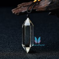 Citrine Clear Reiki Quartz Pendulum Gemstone Healing Charm Hanger Mode Gift Crystal Charm Hangers Hand-Gepolijste Healing Med