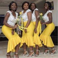 Сексуальная африканская русалка желтый Hi-Low Bridemaid платья белый цветочный топ атласный выпускной платья горничная почва
