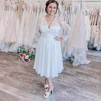 Elegant White Lace Chiffon Short A Line Wedding Gowns V Neck Long Sleeves Bohemian Beach Bridal Party Dresses Robe De Marriage 2021