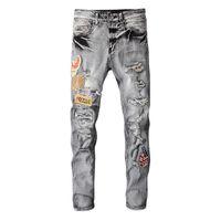 European Street Wear Biker Mens Jeans Luxurys Brand Pencil Slim Fit Men Pants Washable Retro Torn Fold Stitching Man Designers Motorcycle Skinny Denim Jean
