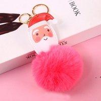 Big Red Santa Claus Fluffy Key Chain Party Gifts Faux Rabbit Fur Ball Pom Keychains Women Bag KeyRing EWA8923