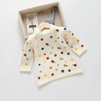 Vestidos da menina Bobotcnunu 2021 outono roupas bebê vestido bordado roupa de malha manga longa meninas florais