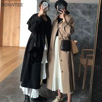 Trench Women Solid Harajuku Trendy Friends Large Size 3XL Lo...