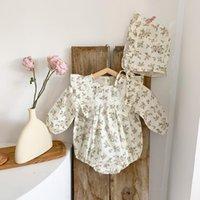 Macacões bobotcnunu meninas moda algodão floral bodysuits crianças manga comprida macacões outono infantil bebê casual roupas soltas