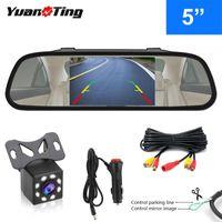 Araba Dikiz Kameralar Park Sensörleri Yuanting 5 '' TFT LCD Ayna Monitör Ekran Arka / Yan / Ön Yedekleme IP68 Su Geçirmez Gece Görüş Revers