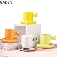 Mugs Home Ceramic Coffee Mug Light Luxury Afternoon Tea Cup Saucer Creative Round Living Room Table Decoration