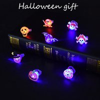 LED Lighted Rings Halloween Glowing Birthday Party Flashing Luminous Rubber Pumpkin Spooky Spider Holiday Decoration In Stock