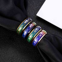 الفولاذ الرجال الحساسة اللون تغيير درجة الحرارة مزاج التيتانيوم الصلب الدائري مجوهرات ييوو