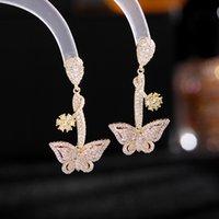Butterfly Dangle Earrings Women Elegant Jewelry Wedding Party Dress Accessories Fashion Crystal Zircon Korean Flower Drop Earring