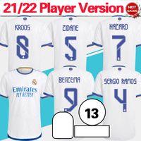 Spielerversion Camiseta Real Madrid Soccer Jerseys 21/22 Benzema Srergio Ramos Modric Soccer Hemd 2021/2022 Home White Kroos F.Mendy Männer Fußballuniform anpassen