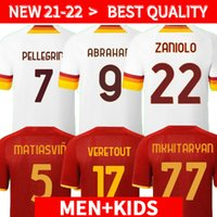 21 22 Abraham Jersey Jersey Zaniolo Player Roma Veretout Pellegrini Kumbulla Totti El Shaarawy Shomurodov Camisa de Futebol 2021 2022 Men + Kit Kit uniformes Maillot