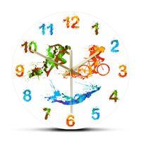 Triatlon Splash Boya Sanat Baskılı Duvar Saati Oturma Odası Için Yüzme Bisiklet Koşu Triatlet Ev Dekoru İzle Saatler