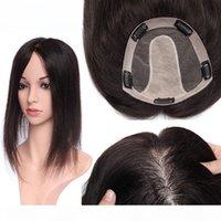 Человеческие волосы Топпер для женщин Шелковая база с 5 зажимами в волос Topee Человеческая часть волос Черный Цвет