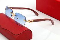 Lunettes de soleil décoratives en forme de C classique Femme Femmes Femmes Brand Cadres Optique Designer Lunettes Pêche Coeur Métal Blue Bleu Verres Jaunes Boite En Bois Boîte sans cadre