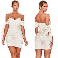 Women mini casual dresses summer clothes sexy club slash neck chest wrap backless off shoulder pleated v-neck bandage sheath column beachwear solid color 03147