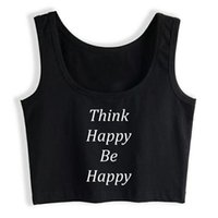 Women's Tanks & Camis Crop Top Women Be Happy Grunge Aesthetic Gothic Y2k Tank Female Clothes
