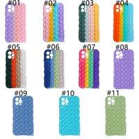 Rainbow Push Bubble Antistress Toys Pop it fidget Phone Cases For Iphone 12 Pro MAX Mini 11 XR XS X 10 8 7 6 6S Plus Unique 3D Decompression Case Soft Silicone Cover#419