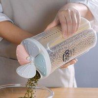 Botellas de almacenamiento JARS Contenedor Caja de cocina Tarro de cereal con tapas y compartimentos para tuercas de arroz de harina de azúcar de grano