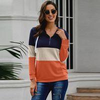 Spring Autumn And Winter European American Women's Wear Stitching Color Long-sleeved Semi-zip Hooded Sportswear Hoodies & Sweatshirts