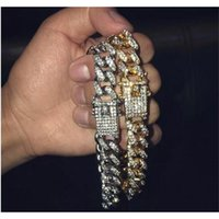 Bracelets Mens Simulated Hip Hop Diamond Gold Jewelry Fashion Iced Out Miami Cuban Link Chain Bracelet75KR