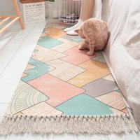 Carpets Ins Japanese Style Cotton Hand Woven Bedside Carpet Friendly Home Bedroom Room Long Fringed Non-slip Mat